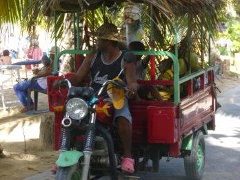 une guagua remplie de coco pour le plus grand plaisir des adeptes de Las Ballenas.